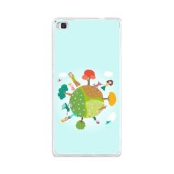 Funda Gel Tpu para Huawei P8 Lite Diseño Familia Dibujos