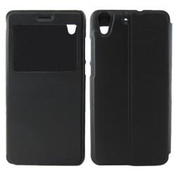 Funda Soporte Piel Negra Con Ventana para Huawei Y6 II / Honor 5A Flip Libro