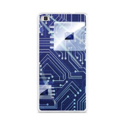 Funda Gel Tpu para Huawei P8 Lite Diseño Circuito Dibujos