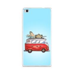 Funda Gel Tpu para Huawei P8 Lite Diseño Furgoneta Dibujos