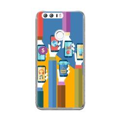 Funda Gel Tpu para Huawei Honor 8 Diseño Apps Dibujos