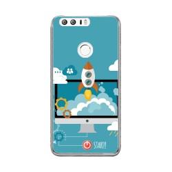 Funda Gel Tpu para Huawei Honor 8 Diseño Cohete Dibujos