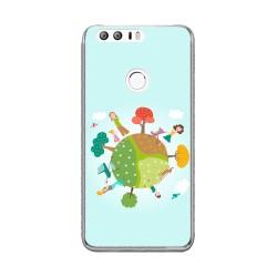 Funda Gel Tpu para Huawei Honor 8 Diseño Familia Dibujos
