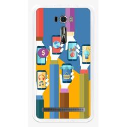"Funda Gel Tpu para Asus Zenfone 2 Laser 6"" Ze601Kl Diseño Apps Dibujos"