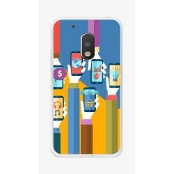 Funda Gel Tpu para Motorola Moto G4 Play Diseño Apps Dibujos
