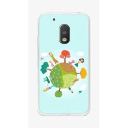 Funda Gel Tpu para Motorola Moto G4 Play Diseño Familia Dibujos