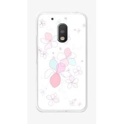 Funda Gel Tpu para Motorola Moto G4 Play Diseño Flores-Minimal Dibujos