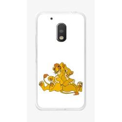Funda Gel Tpu para Motorola Moto G4 Play Diseño Leones Dibujos