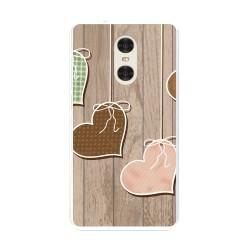"Funda Gel Tpu para Xiaomi Redmi Pro 5.5"" Diseño Corazones Madera Dibujos"