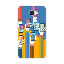 Funda Gel Tpu para Vodafone Smart Ultra 7 Diseño Apps Dibujos