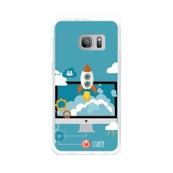 Funda Gel Tpu para Samsung Galaxy S7 Diseño Cohete Dibujos