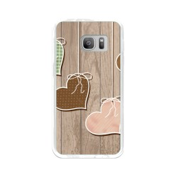 Funda Gel Tpu para Samsung Galaxy S7 Diseño Corazones Madera Dibujos