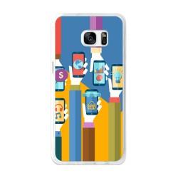 Funda Gel Tpu para Samsung Galaxy S7 Edge Diseño Apps Dibujos