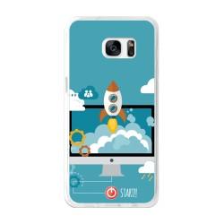 Funda Gel Tpu para Samsung Galaxy S7 Edge Diseño Cohete Dibujos