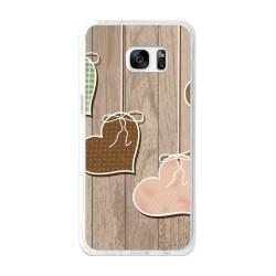 Funda Gel Tpu para Samsung Galaxy S7 Edge Diseño Corazones Madera Dibujos