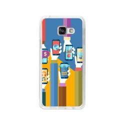 Funda Gel Tpu para Samsung Galaxy A3 (2016) Diseño Apps Dibujos