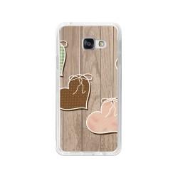 Funda Gel Tpu para Samsung Galaxy A3 (2016) Diseño Corazones Madera Dibujos