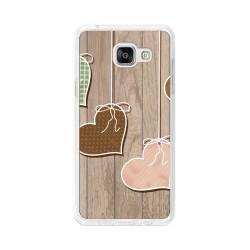 Funda Gel Tpu para Samsung Galaxy A5 (2016) Diseño Corazones Madera Dibujos