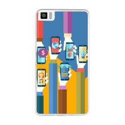Funda Gel Tpu para Bq Aquaris M2017 / M5.5 Diseño Apps Dibujos