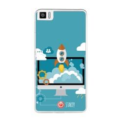 Funda Gel Tpu para Bq Aquaris M2017 / M5.5 Diseño Cohete Dibujos
