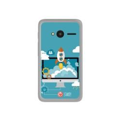 "Funda Gel Tpu para Orange Rise 31 / Alcatel Pixi 4 (4"") Diseño Cohete Dibujos"