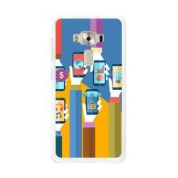 "Funda Gel Tpu para Asus Zenfone 3 5.2"" Ze520Kl Diseño Apps Dibujos"