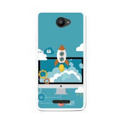 Funda Gel Tpu para Bq Aquaris U / U Lite Diseño Cohete Dibujos