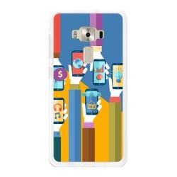 """Funda Gel Tpu para Asus Zenfone 3 Deluxe 5.7"""" Zs570Kl Diseño Apps Dibujos"""
