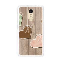 Funda Gel Tpu para Xiaomi Redmi Note 4 / Note 4 Pro Diseño Corazones Madera Dibujos