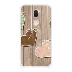 Funda Gel Tpu para Xiaomi Mi 5S Plus Diseño Corazones Madera Dibujos