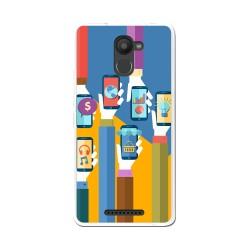 Funda Gel Tpu para Bq Aquaris U Plus Diseño Apps Dibujos