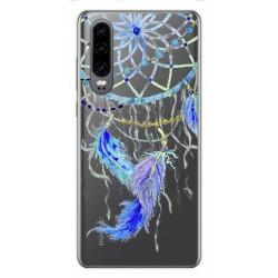 Funda Gel Transparente para Huawei P30 diseño Plumas Dibujos