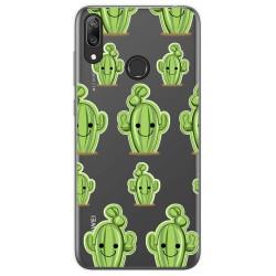Funda Gel Transparente para Huawei Y7 2019 diseño Cactus Dibujos