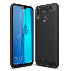 Funda Gel Tpu Tipo Carbon Negra para Huawei Y9 2019