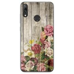 Funda Gel Tpu para Huawei Y7 2019 diseño Madera 08 Dibujos