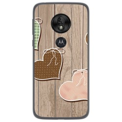 Funda Gel Tpu para Motorola Moto G7 Play diseño Corazones Madera Dibujos