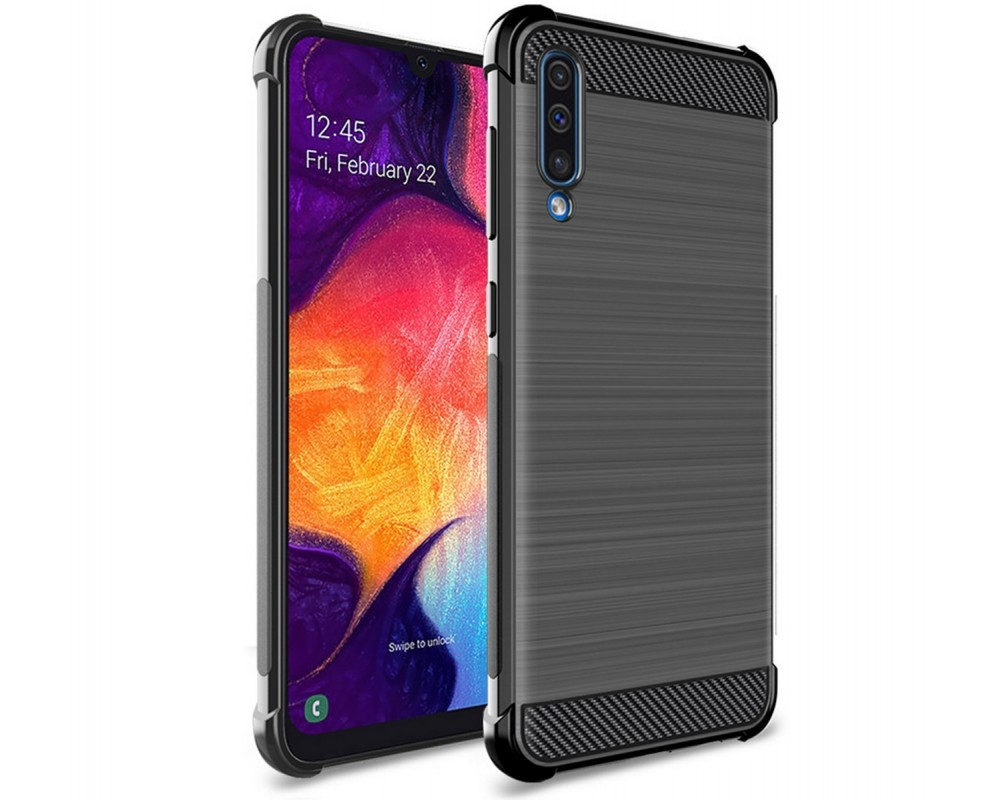 Funda Gel Tpu Anti-Shock Carbon Negra para Samsung Galaxy A50