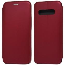 Funda Libro Soporte Magnética Elegance Roja para Samsung Galaxy S10 Plus