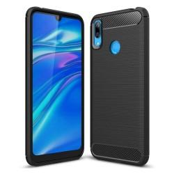 Funda Gel Tpu Tipo Carbon Negra para Huawei Y7 2019