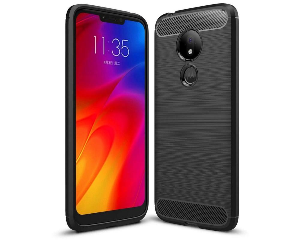 Funda Gel Tpu Tipo Carbon Negra para Motorola Moto G7 Power
