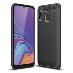 Funda Gel Tpu Tipo Carbon Negra para Samsung Galaxy A40