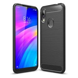 Funda Gel Tpu Tipo Carbon Negra para Xiaomi Redmi 7