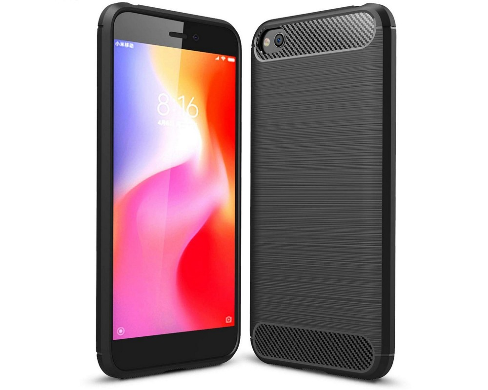 Funda Gel Tpu Tipo Carbon Negra para Xiaomi Redmi Go