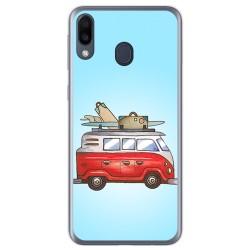 Funda Gel Tpu para Samsung Galaxy M20 diseño Furgoneta Dibujos
