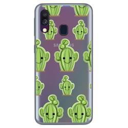 Funda Gel Transparente para Samsung Galaxy A40 diseño Cactus Dibujos