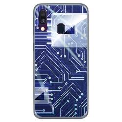 Funda Gel Tpu para Samsung Galaxy A40 diseño Circuito Dibujos