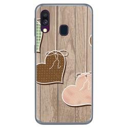 Funda Gel Tpu para Samsung Galaxy A40 diseño Corazones Madera Dibujos