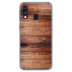 Funda Gel Tpu para Samsung Galaxy A40 diseño Madera 02 Dibujos