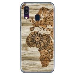 Funda Gel Tpu para Samsung Galaxy A40 diseño Madera 07 Dibujos