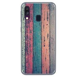 Funda Gel Tpu para Samsung Galaxy A40 diseño Madera 10 Dibujos
